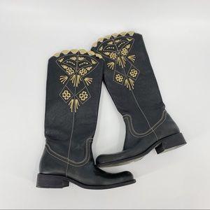 BCBGMaxAzria Ofra boho leather embroidere boots